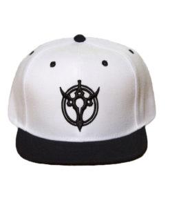 white and black symbol snapback